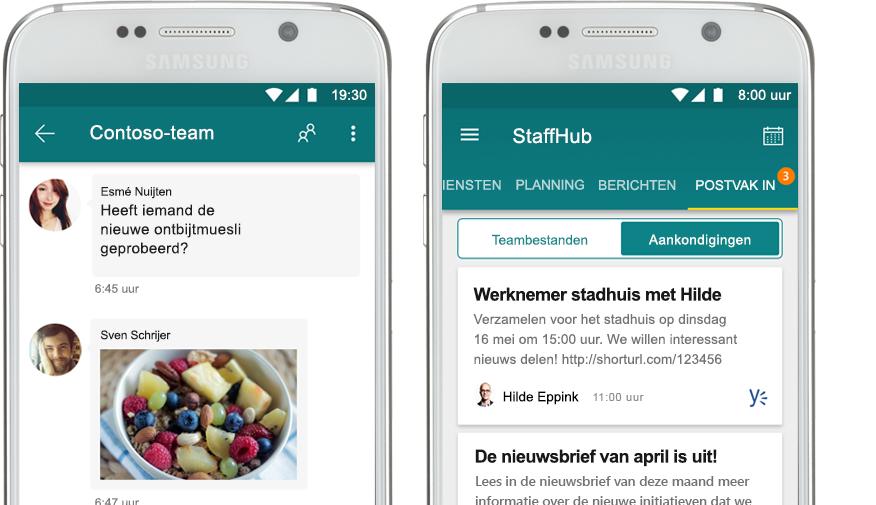 een mobiele telefoon met een StaffHub-chat naast een mobiele telefoon met een bedrijfsmededeling in StaffHub