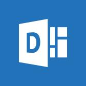 Microsoft Delve-logo, lees meer over de mobiele app van Delve op pagina