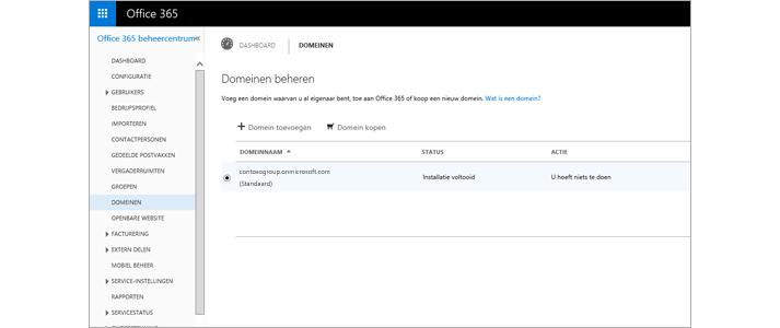 Een close-up van de pagina van het Office 365-beheercentrum waar je Exchange Online Protection beheert.
