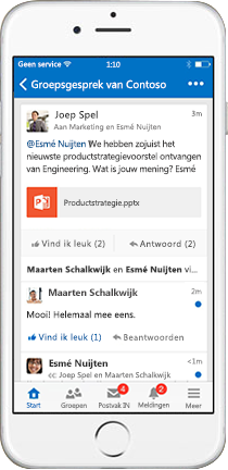 iPhone met een groepsgesprek in Outlook