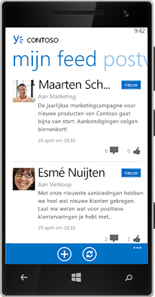 Een Windows Phone met de feed in Yammer