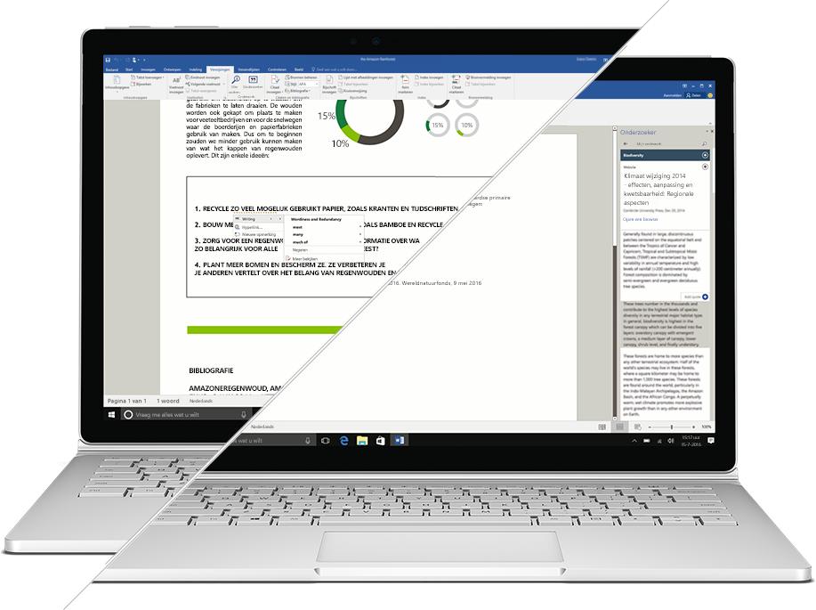 Schermafbeelding van Onderzoek en Editor in Microsoft Word