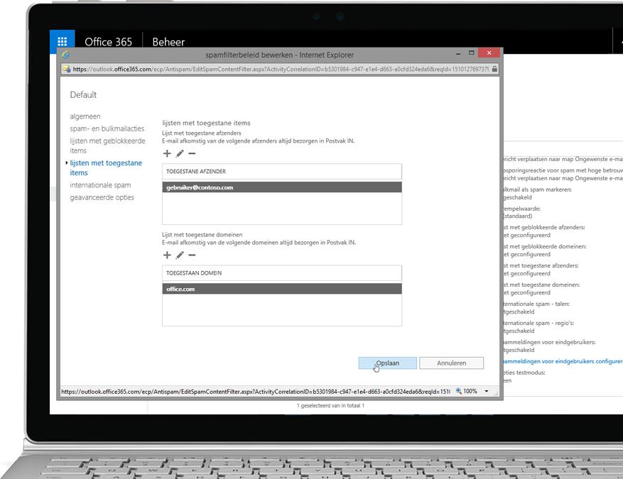 Office 365 Exchange Online Protection-filterbeleid op een Windows-laptop