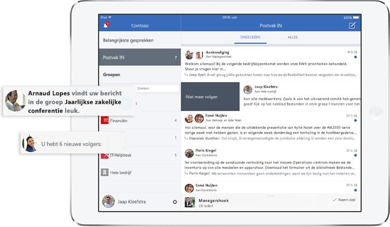 Het scherm van een tablet met het Postvak IN van Yammer en meldingen
