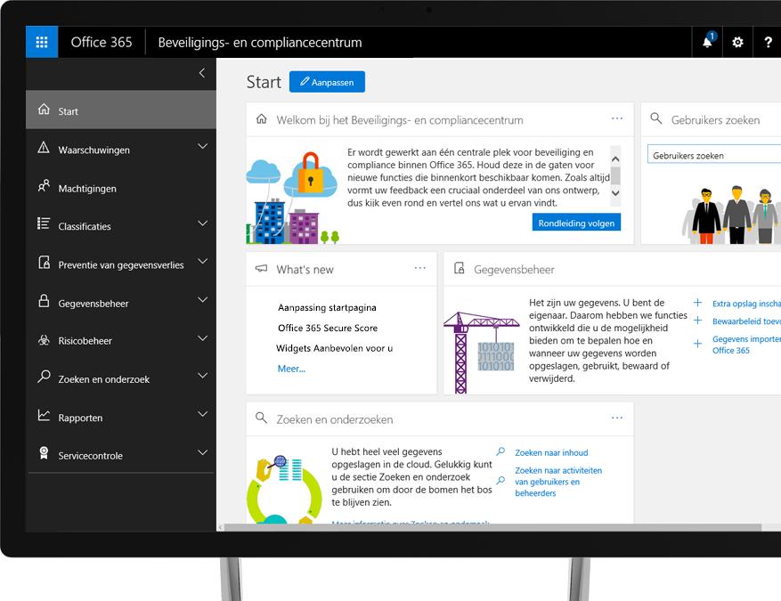 Office 365-beveiligings- en compliancecentrum op een Windows-desktopbeeldscherm