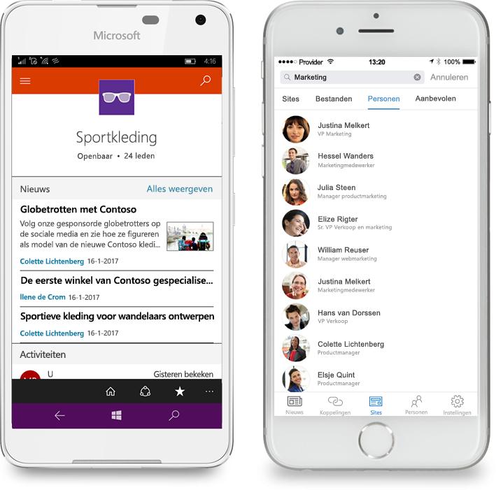 Twee smartphones met de mobiele SharePoint-app