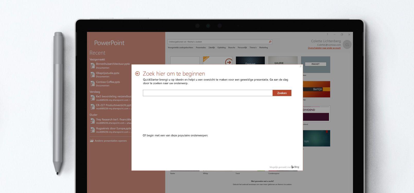 Tabletscherm waarop een PowerPoint-document wordt weergegeven met de Snelstart-functie