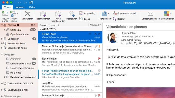 Een schermafbeelding van een postvak in Microsoft Outlook 2016 met een lijst met berichten en een voorbeeld.