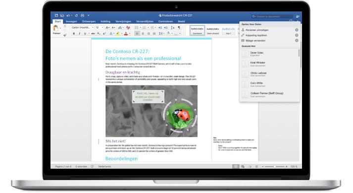 Een laptop waarop een Word-document is geopend met opmerkingen en het menu Opties voor delen.