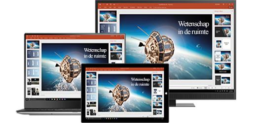 Een bureaubladmonitor, laptop en tablet met een presentatie over wetenschap in de ruimte, meer informatie over draagbare productiviteit met bureaublad- en mobiele apps voor Office
