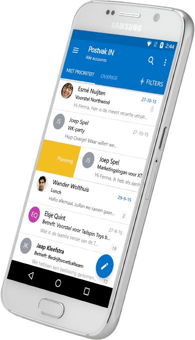 Een smartphone met een Postvak IN van Outlook
