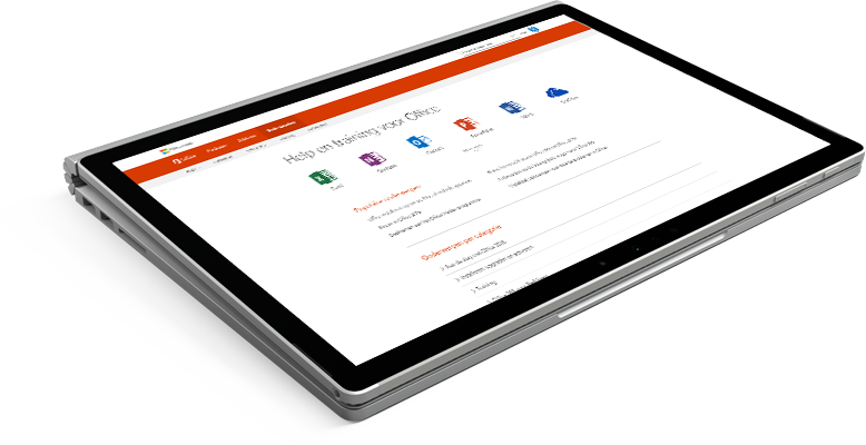Laptop met Office-website voor ondersteuning