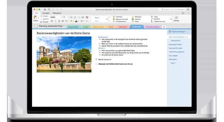 Een MacBook met een geopend notitieblok in OneNote voor Mac.