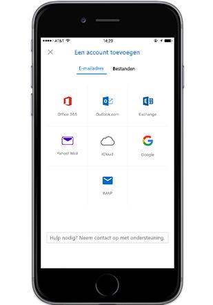 Mobiele Outlook-app op iPhone, bijlage toevoegen