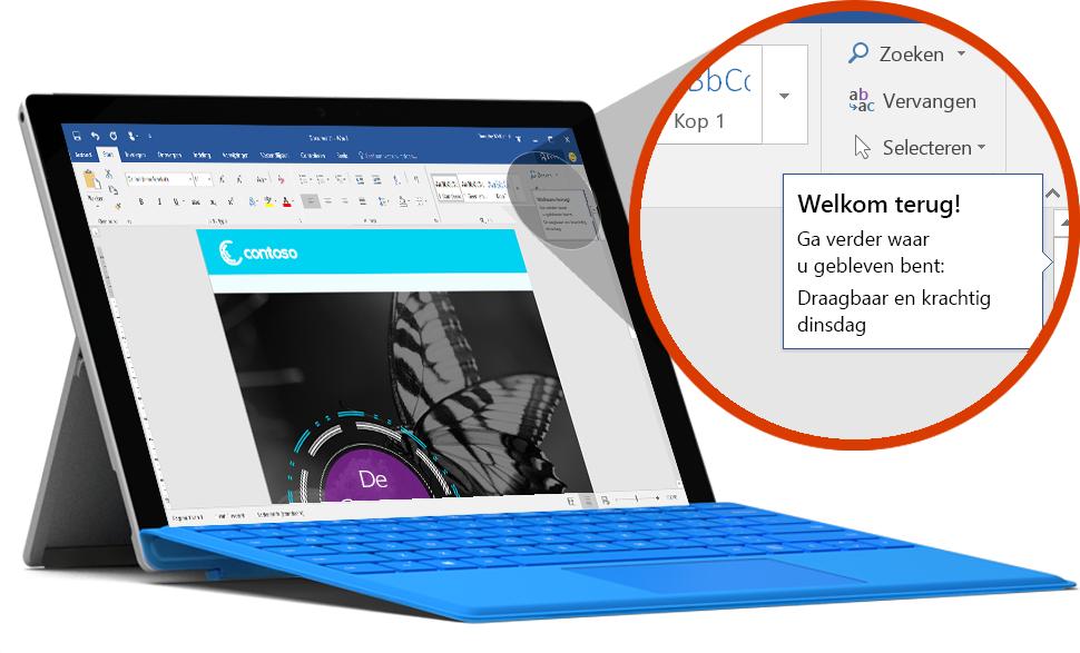 Surface-tablet met een document waarin de laatste locatie in Word te zien is, meer informatie over OneDrive-cloudopslag