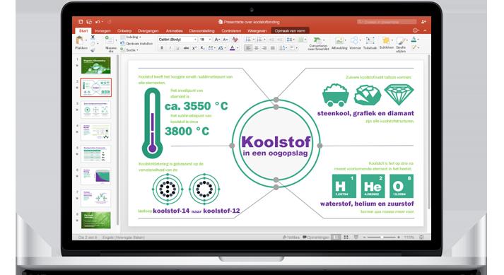 Een MacBook met een presentatie in PowerPoint voor Mac.