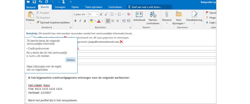 Een beleidstip in een e-mail om te voorkomen dat gevoelige informatie wordt verzonden.