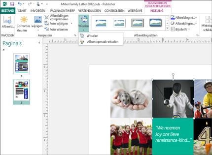 Screenshot van een Publisher-publicatie met hulpmiddelen voor afbeeldingen op het lint.