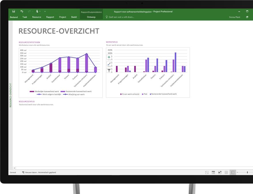 Apparaat met een Project-bestand geopend dat een rapport genaamd Resourceoverzicht weergeeft