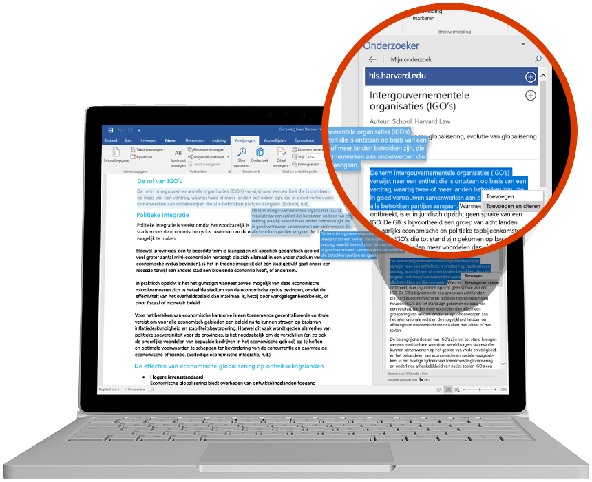 Een laptop waarop Onderzoek wordt gebruikt in een Word-document