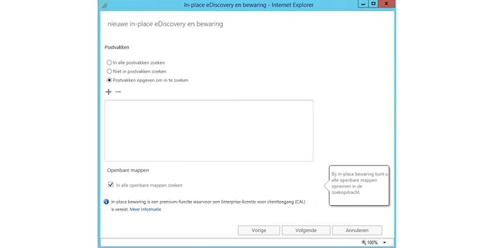 Een Internet Explorer-venster met de functie voor in-place eDiscovery en bewaring