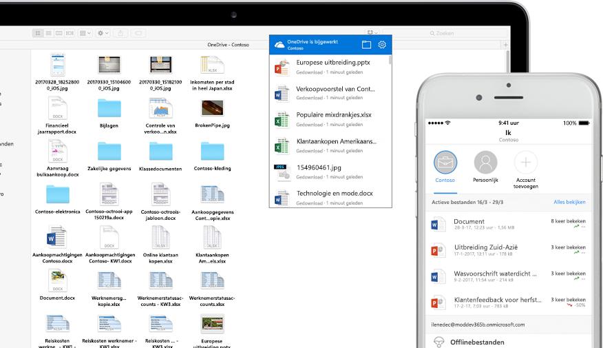 een laptop en een smartphone met Word-, PowerPoint- en Excel-bestanden, afbeeldingen en mappen in OneDrive