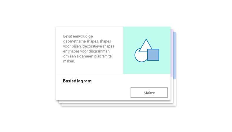 een vooraf gemaakt startdiagram van Visio Online