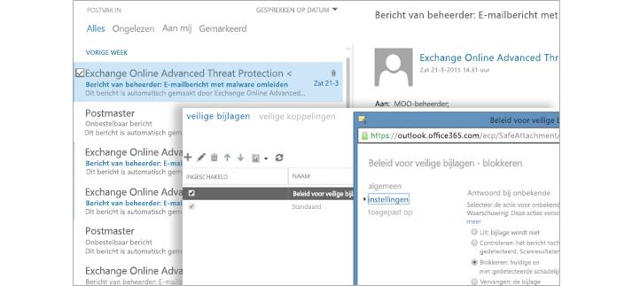 Een schermopname van een e-mailbericht met een beheerdermelding en een venster met beleid voor veilige bijlagen.