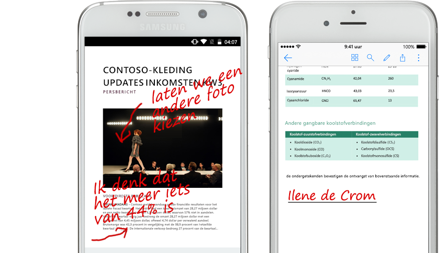 twee smartphones met documenten en handgeschreven notities over de documenten