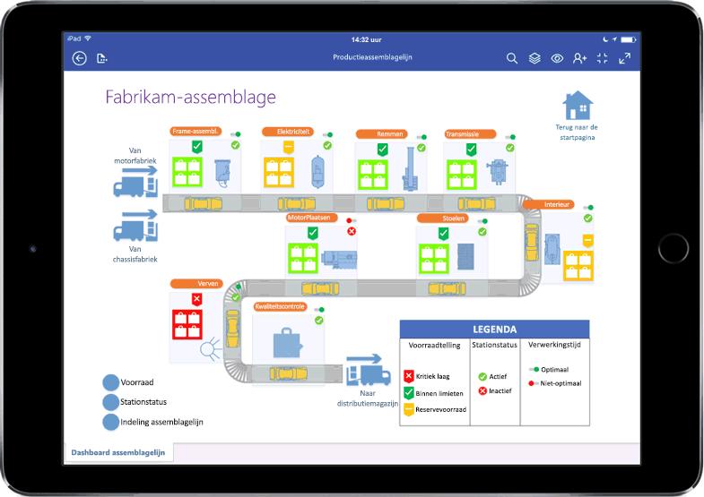 Een iPad met een diagram voor een assemblagelijn in Visio