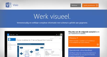 Visio TestDrive op een computerscherm, neem nu de Visio TestDrive