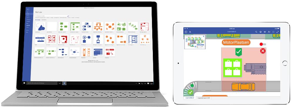 Een laptop en iPad waarop diagrammen van Visio Online-abonnement 2 worden weergegeven.