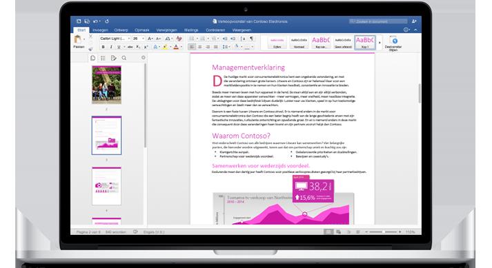 Een MacBook met een document in het nieuwe Word voor Mac en het navigatiedeelvenster.