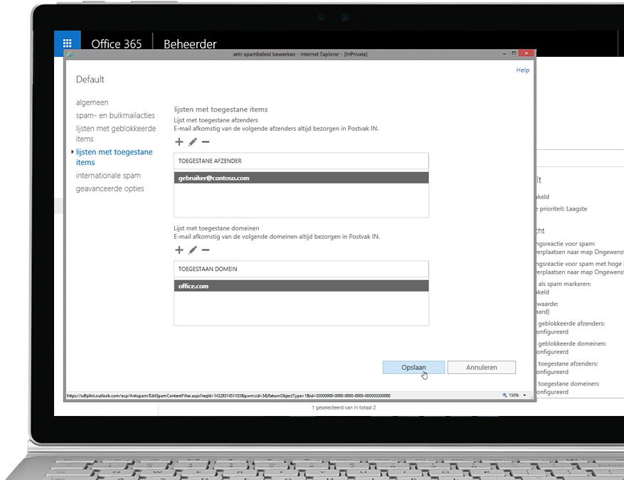 Een tablet met Antispambeleid bewerken in de Office 365-beheerconsole met een toegestane afzender en domein