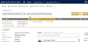 Een afbeelding van een pagina met een verkoopkans in Microsoft Dynamics CRM Online.