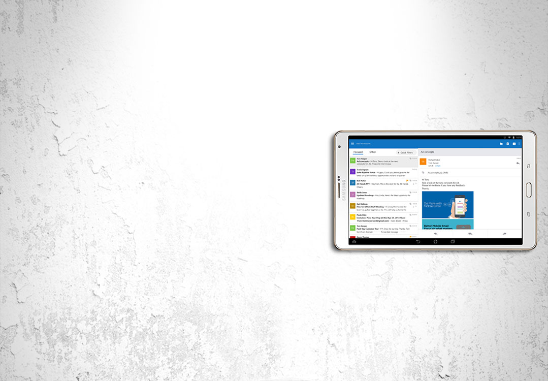 Outlook op Android-tablet
