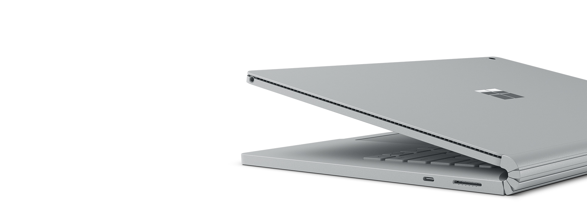Surface Book 2 met aanzicht van de USB-C-poort