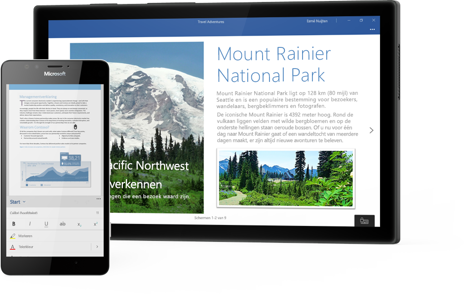Windows-tablet met een Word-document over Mount Rainier National Park en een telefoon met een document in de Word Mobile-app