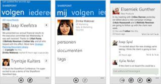 Drie schermafbeeldingen van een SharePoint Online-nieuwsfeed op verschillende mobiele apparaten.