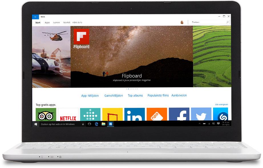Laptop met de Windows Store afgebeeld