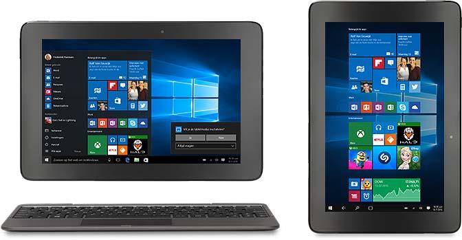 Een all-in-1-pc, 2-in-1 en een Windows-telefoon met dezelfde afbeelding