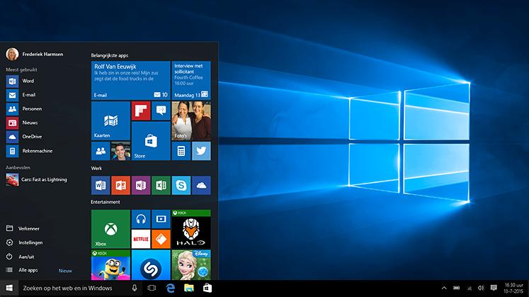Laptop met het Windows Startmenu