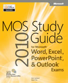 Omslag van de MOS 2010-studiegids voor Microsoft Word, Excel, PowerPoint en Outlook