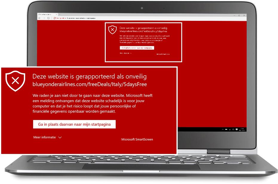 Een laptop met daarop Windows Defender.