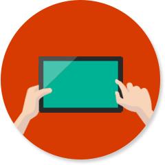 Persoon die een tablet gebruikt