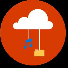 Cloud met muzieknotities en bestandsmap