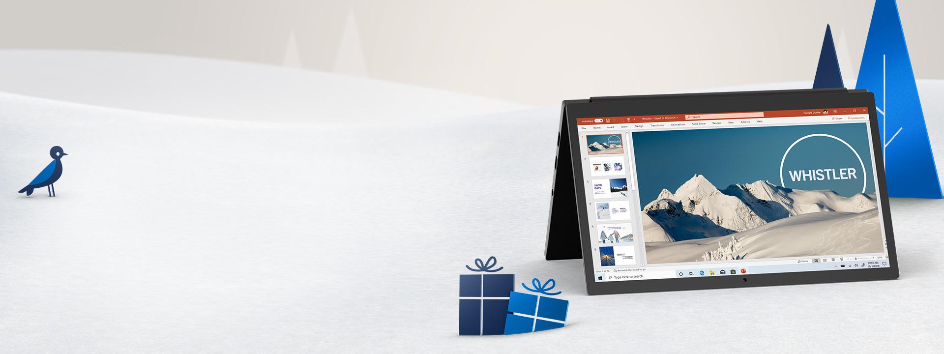 Een pc met een geopend PowerPoint-document, omgeven door een kerstlandschap
