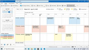 Outlook-agenda weergegeven op een scherm