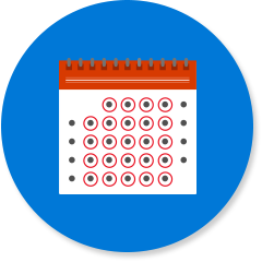 Kalender met elke dag omcirkeld