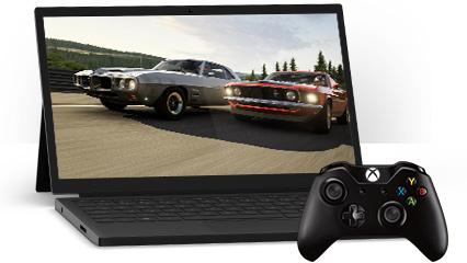 Een Windows 10-pc met afgebeeld de Xbox app in Windows en een Xbox-controller